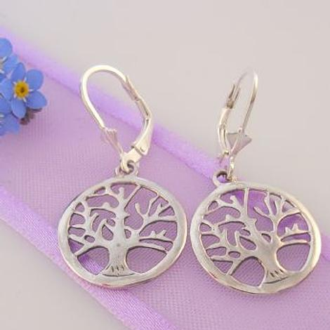 STERLING SILVER 16mm TREE OF LIFE SAFETY HOOK EARRINGS