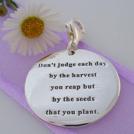 STERLING SILVER 24mm SEED HARVEST MESSAGE CLIP ON CHARM 925-54-706-9053