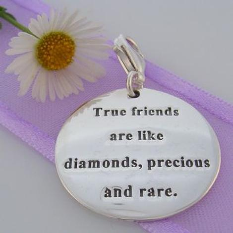 STERLING SILVER 24mm TRUE FRIENDS MESSAGE CLIP ON CHARM 925-54-706-9055