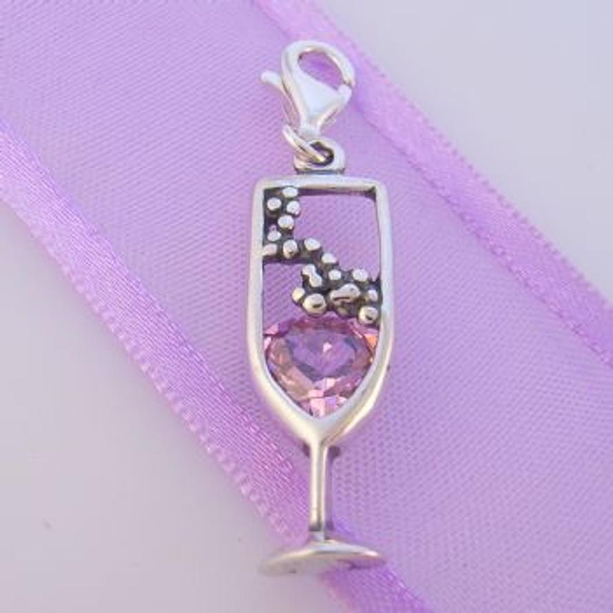 STERLING SILVER GLASS PINK CHAMPAGNE HOOKED ON CLIP CHARM PENDANT TI-09280