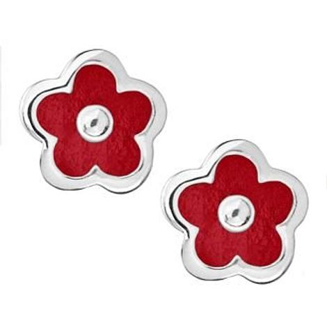PASTICHE STERLING SILVER 5mm RED FLOWER STUD EARRINGS