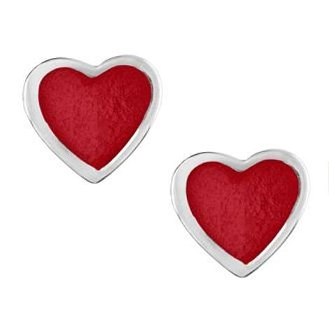 PASTICHE STERLING SILVER 5mm RED HEART STUD EARRINGS