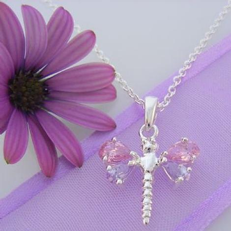 STERLING SILVER CZ DRAGONFLY CHARM NECKLACE 45cm