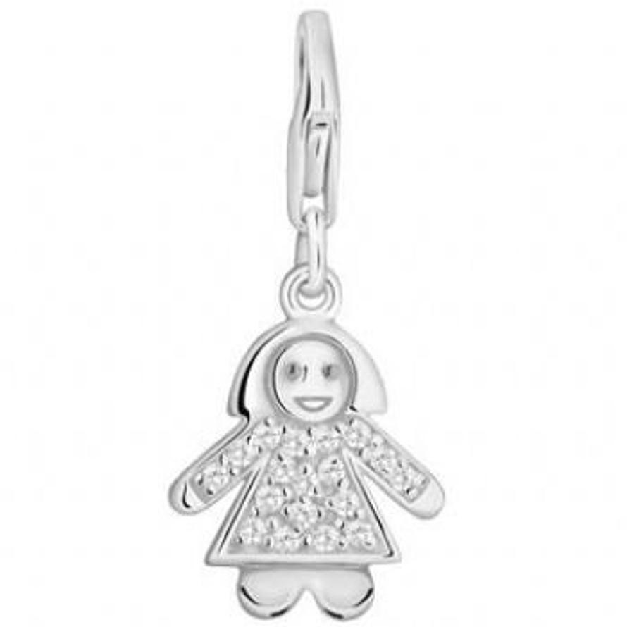 PASTICHE STERLING SILVER CZ LITTLE GIRL CLIP ON CHARM QC009CZ