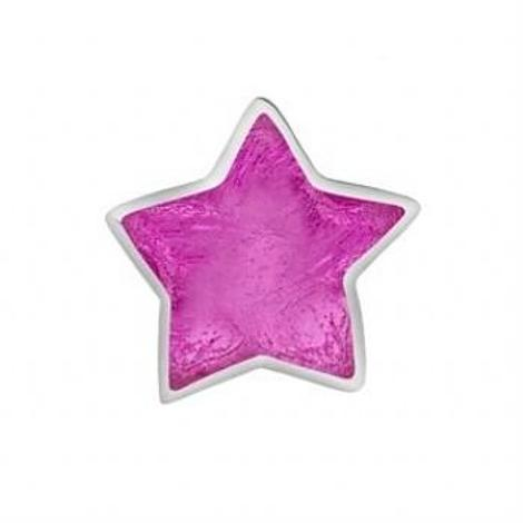 STERLING SILVER PASTICHE PETITE HOT PINK WISHING STAR BEAD CHARM -XE033PK
