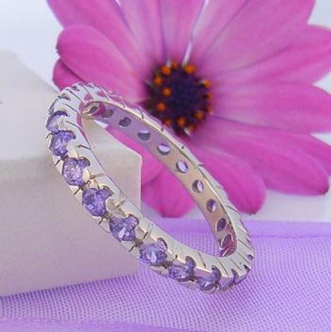 PASTICHE STERLING SILVER AMETHYST CZ ETERNITY RING -R582AMCZ
