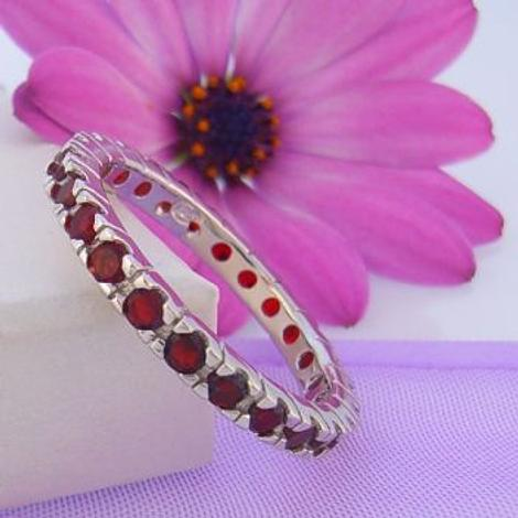 PASTICHE STERLING SILVER RED CZ ETERNITY RING -R582CZRD