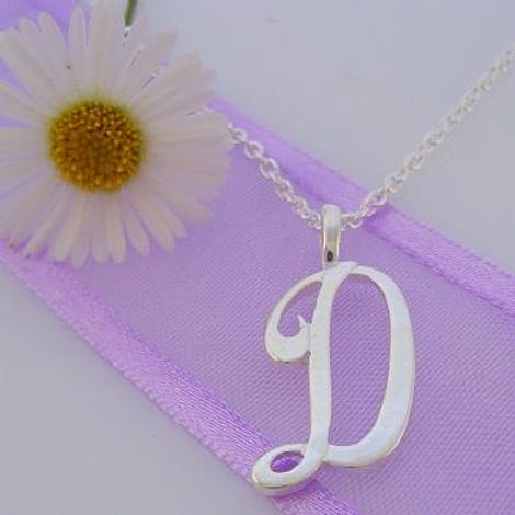 ALPHABET INITIAL CHARM STERLING SILVER 45CM NECKLACE LETTER D