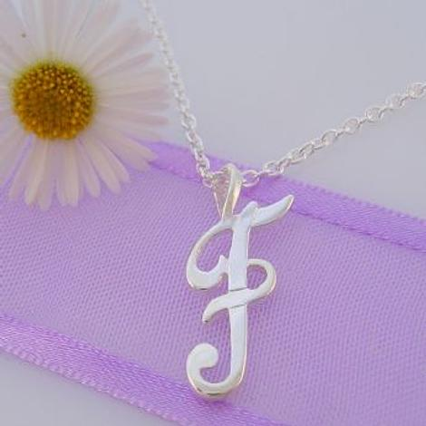 ALPHABET INITIAL CHARM STERLING SILVER 45CM NECKLACE LETTER F