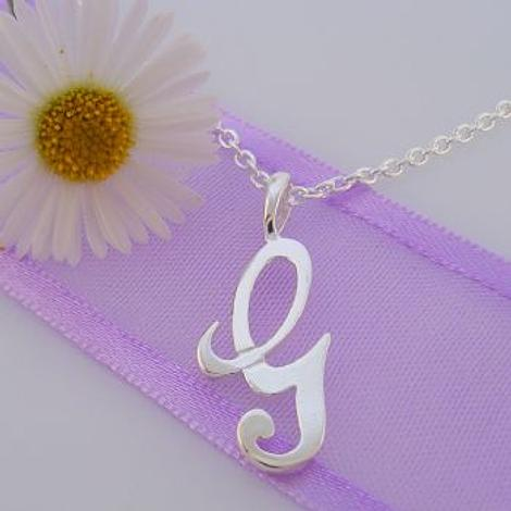 ALPHABET INITIAL CHARM STERLING SILVER 45CM NECKLACE LETTER G