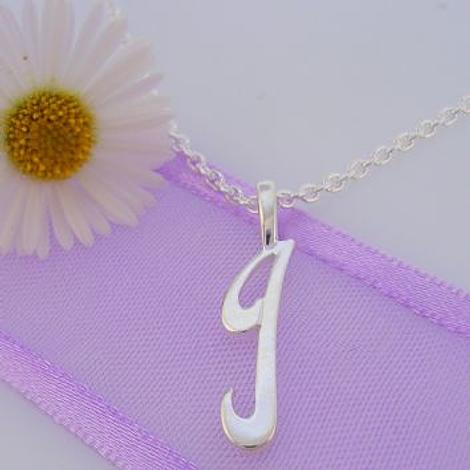 ALPHABET INITIAL CHARM STERLING SILVER 45CM NECKLACE LETTER i