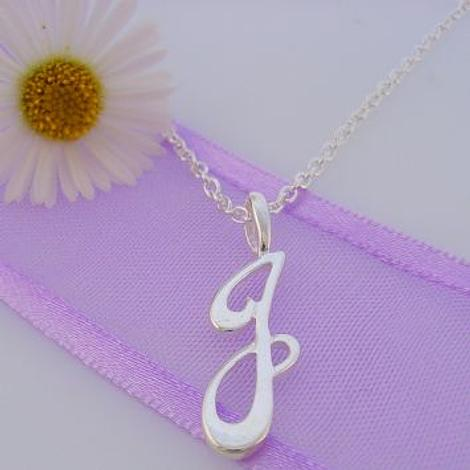 ALPHABET INITIAL CHARM STERLING SILVER 45CM NECKLACE LETTER J