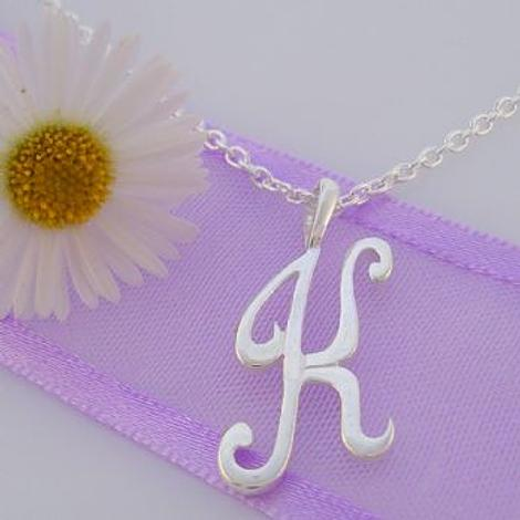 ALPHABET INITIAL CHARM STERLING SILVER 45CM NECKLACE LETTER K
