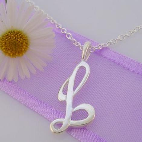 ALPHABET INITIAL CHARM STERLING SILVER 45CM NECKLACE LETTER L