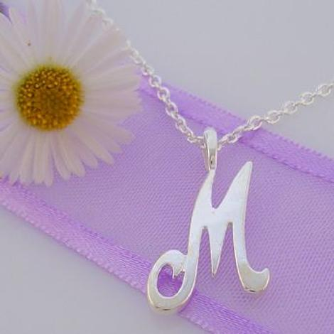 ALPHABET INITIAL CHARM STERLING SILVER 45CM NECKLACE LETTER M