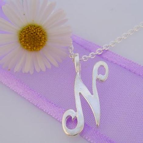 ALPHABET INITIAL CHARM STERLING SILVER 45CM NECKLACE LETTER N