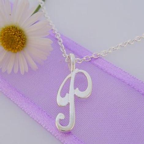 ALPHABET INITIAL CHARM STERLING SILVER 45CM NECKLACE LETTER P