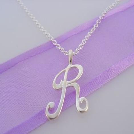 ALPHABET INITIAL CHARM STERLING SILVER 45CM NECKLACE LETTER R