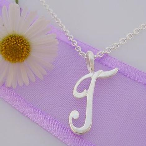 ALPHABET INITIAL CHARM STERLING SILVER 45CM NECKLACE LETTER T