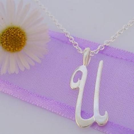 ALPHABET INITIAL CHARM STERLING SILVER 45CM NECKLACE LETTER U
