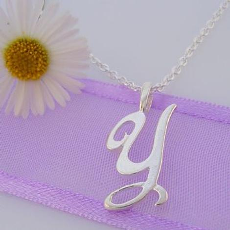 ALPHABET INITIAL CHARM STERLING SILVER 45CM NECKLACE LETTER Y