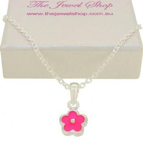 PASTICHE STERLING SILVER PINK DAISY FLOWER CHARM NECKLACE