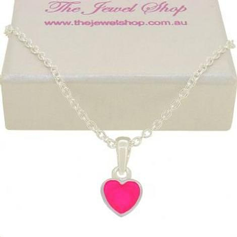 PASTICHE STERLING SILVER PINK LOVE HEART CHARM NECKLACE