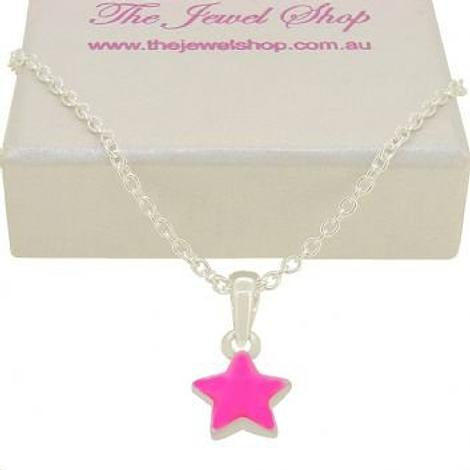 PASTICHE STERLING SILVER PINK STAR CHARM NECKLACE