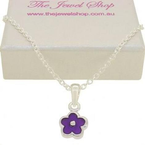 PASTICHE STERLING SILVER PURPLE DAISY FLOWER CHARM NECKLACE