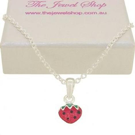 PASTICHE STERLING SILVER STRAWBERRY CHARM NECKLACE