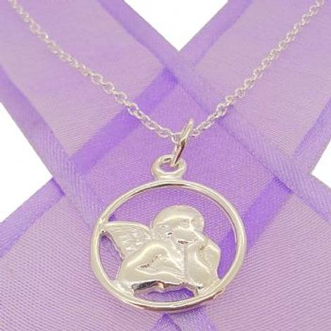 GUARDIAN ANGEL PENDANT NECKLACE IN STERLING SILVER