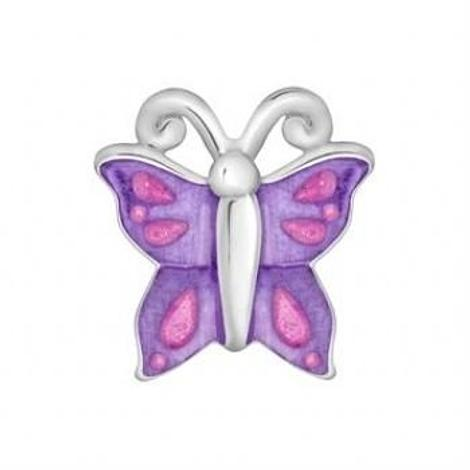 STERLING SILVER PASTICHE PETITE BUTTERFLY BEAD CHARM -XE027PKPU
