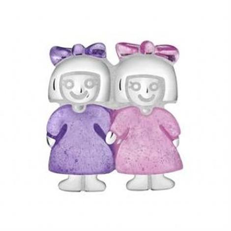 STERLING SILVER PASTICHE PETITE SISTERS TWIN GIRLS BEAD CHARM -XE025PKPU