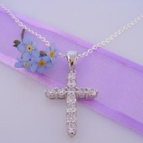 PASTICHE STERLING SILVER CZ 17mmx 25mm CROSS CHARM NECKLACE 45CM