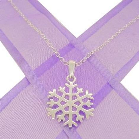 STERLING SILVER 15mm SNOWFLAKE CABLE NECKLACE 45cm NLET