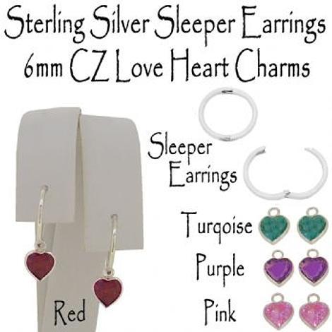 STERLING SILVER 6mm CZ LOVE HEART CHARM SLEEPER EARRINGS