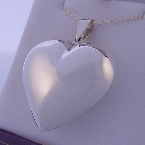 24mm STERLING SILVER PUFF HEART PENDANT CHARM NECKLACE