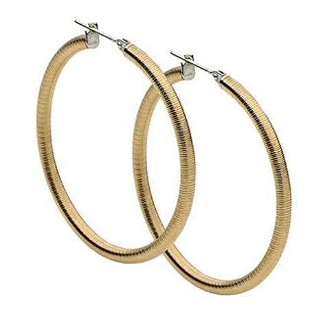 PASTICHE WOMENS STEEL 45mm YELLOW HOOP EARRINGS