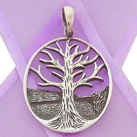 STERLING SILVER 24mm x 35mm OVAL TREE OF LIFE CHARM PENDANT - CP-925-54-706-10148