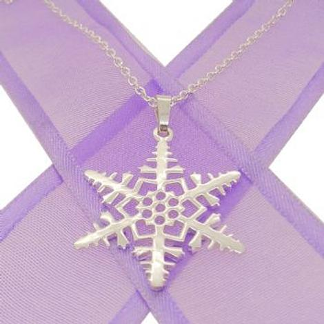 STERLING SILVER 22mm SNOWFLAKE CABLE NECKLACE 45cm