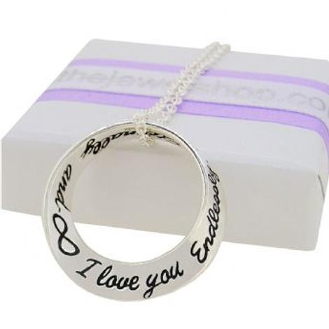 STERLING SILVER I love you Endlessly Eternally INFINITY CABLE NECKLACE