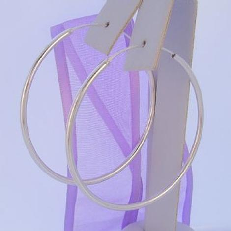STERLING SILVER 50mm GYPSEY HOOP EARRINGS