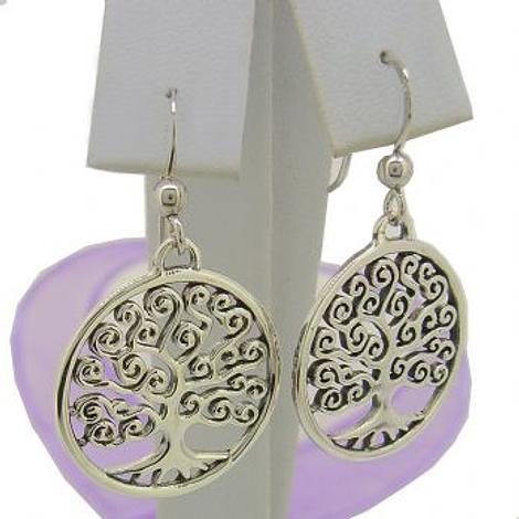 STERLING SILVER 20mm TREE OF LIFE SAFETY HOOK EARRINGS