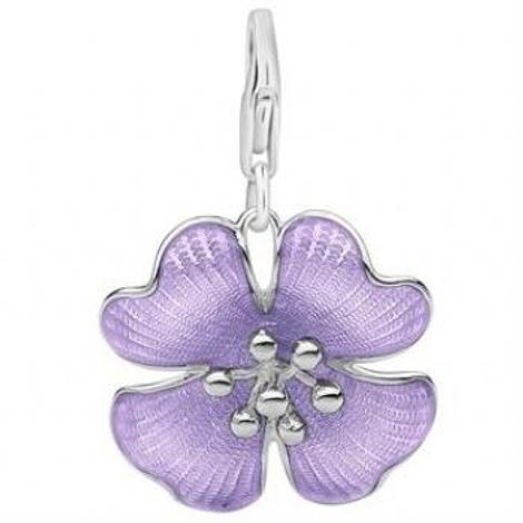 PASTICHE STERLING SILVER 17mm PURPLE LILAC FLOWER HOOKED ON CLIP CHARM PENDANT -QC259PU
