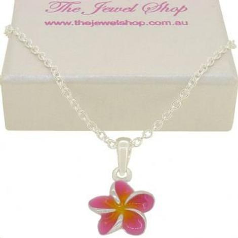 PASTICHE STERLING SILVER PINK FRANGIPANI FLOWER CHARM NECKLACE