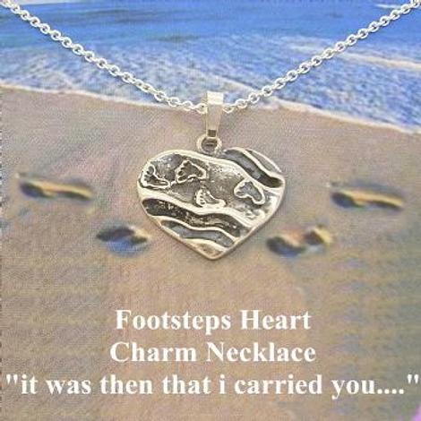 PRAYER HEART CHARM PENDANT NECKLACE STERLING SILVER FOOTSTEPS IN THE SAND