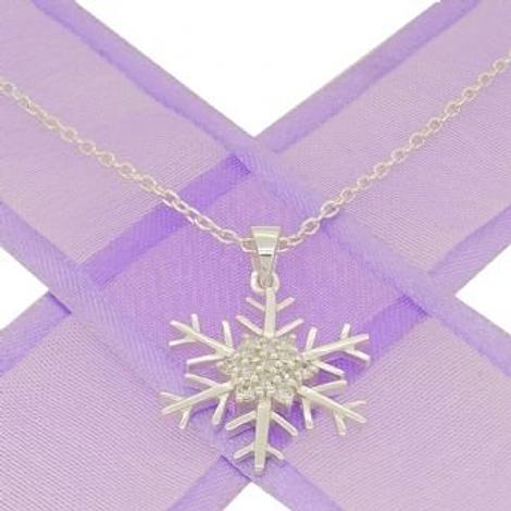 STERLING SILVER CZ SNOWFLAKE CABLE NECKLACE