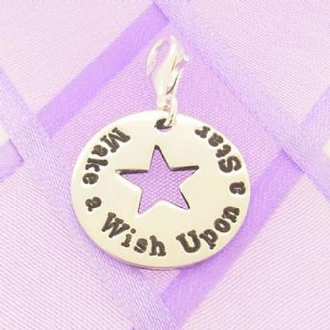 PERSONALISED CIRCLE STAR CLIP ON CHARM Make a wish upon a star
