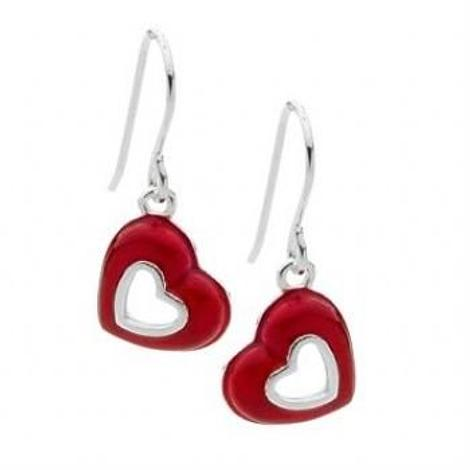 PASTICHE STERLING SILVER 11mm RED VALENTINE HEARTS DESIGN EARRINGS