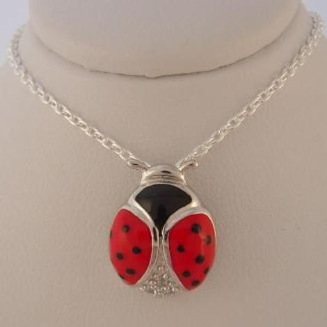 PASTICHE STERLING SILVER 13mm RED LADYBUG LADYBIRD CHARM PENDANT NECKLACE